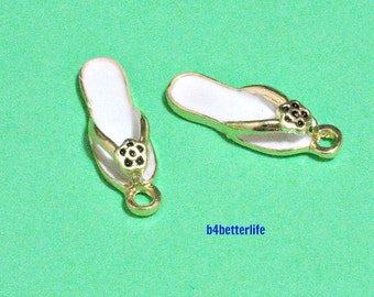 "Lot of 24pcs ""White Slipper"" Gold Color Plated Enameled Metal Charms. #HY2878."