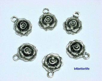 "Lot of 24pcs Antique Silver Tone ""Rose"" Metal Charms. #BC1745."