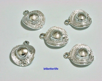 """Lot of 20pcs """"Ladies Hat"""" Silver Color Plated Metal Charms. #XX271."""