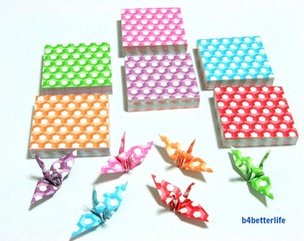 "350 Sheets 3.2cm x 3.2cm Assorted Colors DIY Chiyogami Yuzen Paper Folding Kit for Origami Cranes ""Tsuru"". (MD paper series) #MD109."