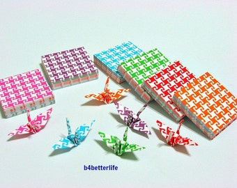 """350 Sheets 3.2cm x 3.2cm Assorted Colors DIY Chiyogami Yuzen Paper Folding Kit for Origami Cranes """"Tsuru"""". #MD111.(MD paper series)."""