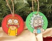 Handmade Rick and Morty Christmas Ornaments, Rick and Morty Cartoon Themed Ornaments.