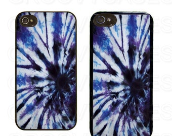 iPhone 4 4s 5 5s 5c SE Case Rubber Blue Tie Dye