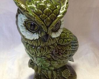 10% OFF SALE Vintage Green Ceramic Owl E.O. Brody Made in Japan/ Owl Decor/ Hoot Owl