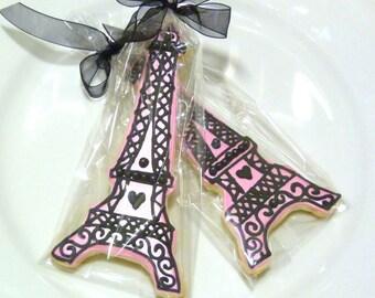 Custom Decorated Gourmet Eiffel Tower Sugar Cookie Favors Paris Cookie Wedding Cookie Bridal Shower Cookie Romantic Cookie Elegant Cookie