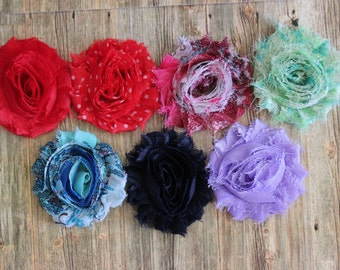 "You Pick 6 - Shabby Frayed Chiffon Flowers (2.5"") - Hair Accessory Supplies"