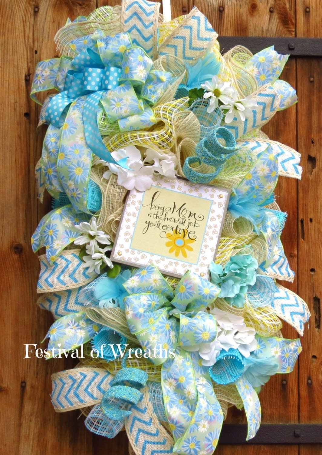 blue and yellow deco mesh wreath baby shower by festivalofwreaths