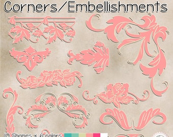 """60 clipart -Corners /borders/ embellishments /  PNG transparent background / 6 """"x 6"""" (1800x1800px) / 300 PPI / Instant download.#93"""