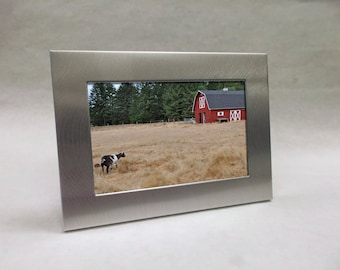 Silver Aluminum Custom Engraved Frame for 4x6 photo