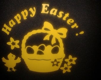 6 x Happy Easter yellow basket window decoration decals + 20 free chick + bunny