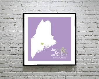 Maine Wedding Gift Custom State Map Personalized Couple Art Personalized Maine Map State Map Art Personalized