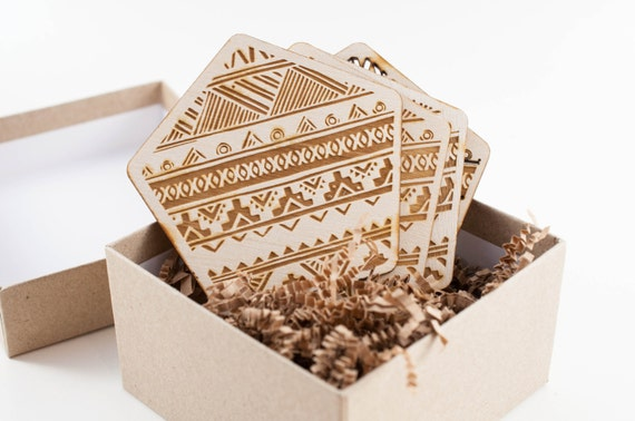 Lasercut and Wood Etched Pattern Coasters (4)