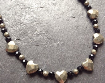Pyrite and black agate faceted heart necklace