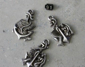 1 Large Mermaid on Anchor  Pendant/ Charms   #91