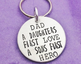 Daughters First Love Keyring - Daughters First Love Keychain - Sons First Hero Keyring - Sons First Hero Keychain - Hand Stamped Dad Gift