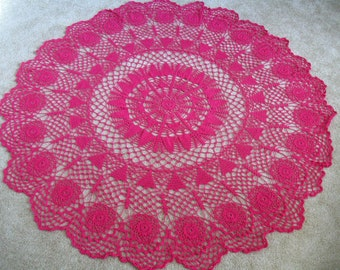Hot Pink Tablecloth. Hand Crocheted. 100% Cotton.