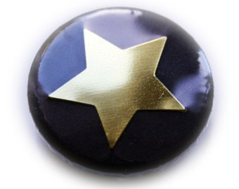 Pinback Button or Magnet Black Star