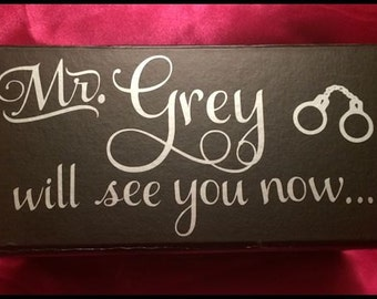 50 Shades of Grey Customized Black & Gray Storage Box~Bachelorette or Birthday Party Gifts~Anniversary~Will See You Now~Welcome to My World