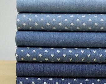 140cm / 55 inch Width, Solid or Stars Washed Denim Fabric, Half Yard