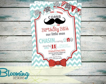 Mustache & Bow Tie Invitation - Birthday Party