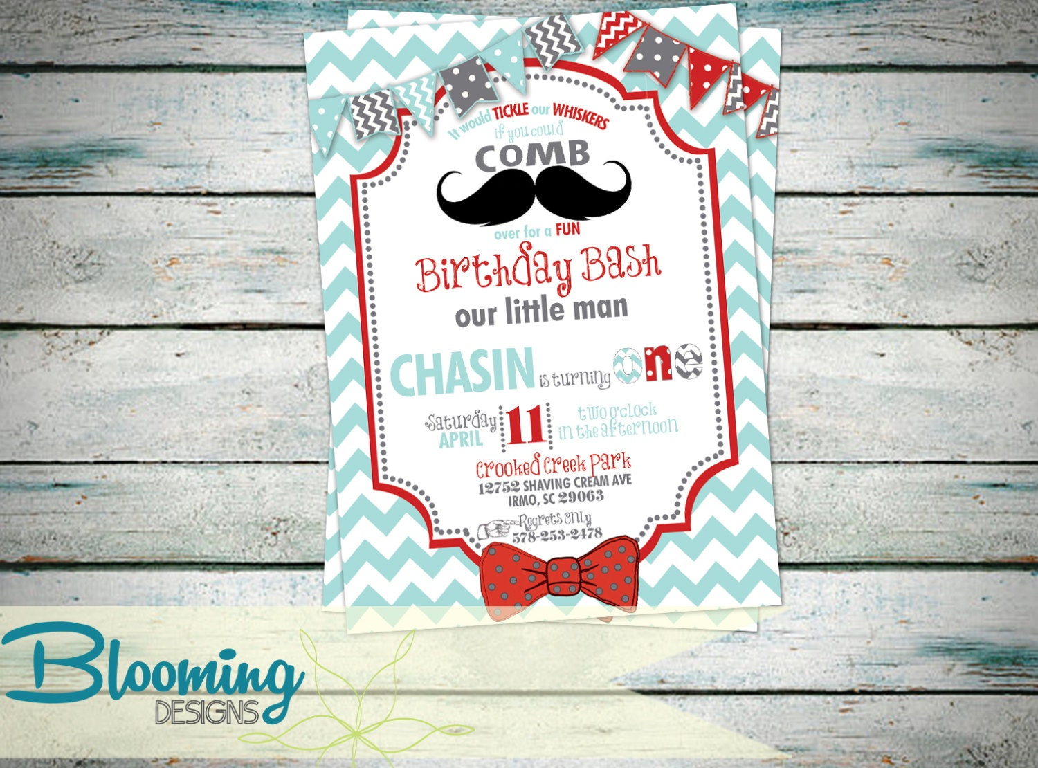 mustache bow tie invitation birthday by bloomingdesignprints
