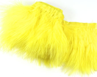"Yellow Feather Trim - 3"" Yellow Marabou Feathers, 12"" long x 3"" wide attached to a satin ribbon.  -Yellow Feathers. Perfect for DIY projects"