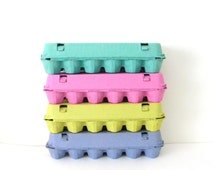 9 Colored Paper Pulp Easter Egg Cartons, Choose Your Colors: Pink, Lime Green, Blue, Teal Easter Craft DIY, Cupcake Box, Treat Box