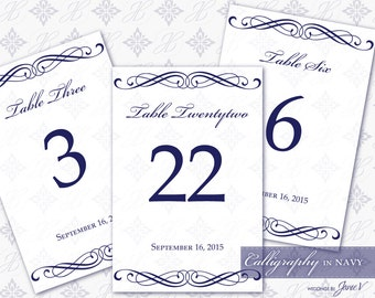 DIY Printable Wedding Table Number Template   Printable Table Setting Décor   Calligraphy in Navy