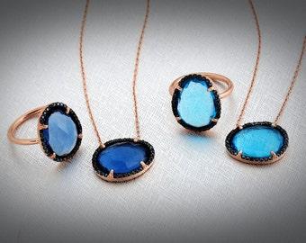 Blue Topaz Chicness. 925 Silver Rose Gold Vermeil elegant pendant necklace.