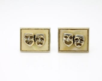 Vintage Gold Tone and Yellow Shell Acrylic Theater Mask Cufflinks SWANK. [2938]