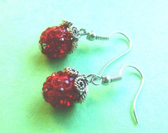 Red Shamballa Earrings ~ Perfect for the Holidays!