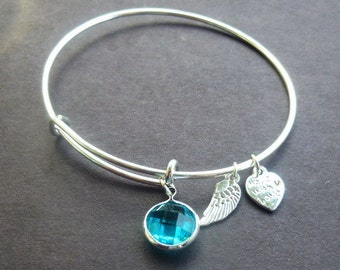 Very Popular Aqua Pave Crystal Adjustable Wire Bracelet w Angel & Heart Metal Charms