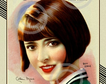 Art Deco Colleen Moore Print, Hollywood Icon, Silent Screen, Flapper, Motion Picture Classic, Don Reed, 1924, Giclee fine Art Print, 11x14