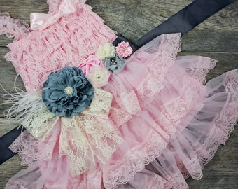 Girls Pink Chiffon Dress With Sash // Flower Girl Dress // Toddler Holiday Dress // Attached Sash // Girls Birthday Dress // Holiday Dress