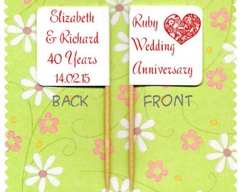 20 PERSONALISED RUBY 40th Wedding ANNIVERSARY Cup Cake Flag Cupcake Toppers