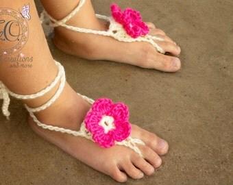 Crochet Flower barefoot Sandals