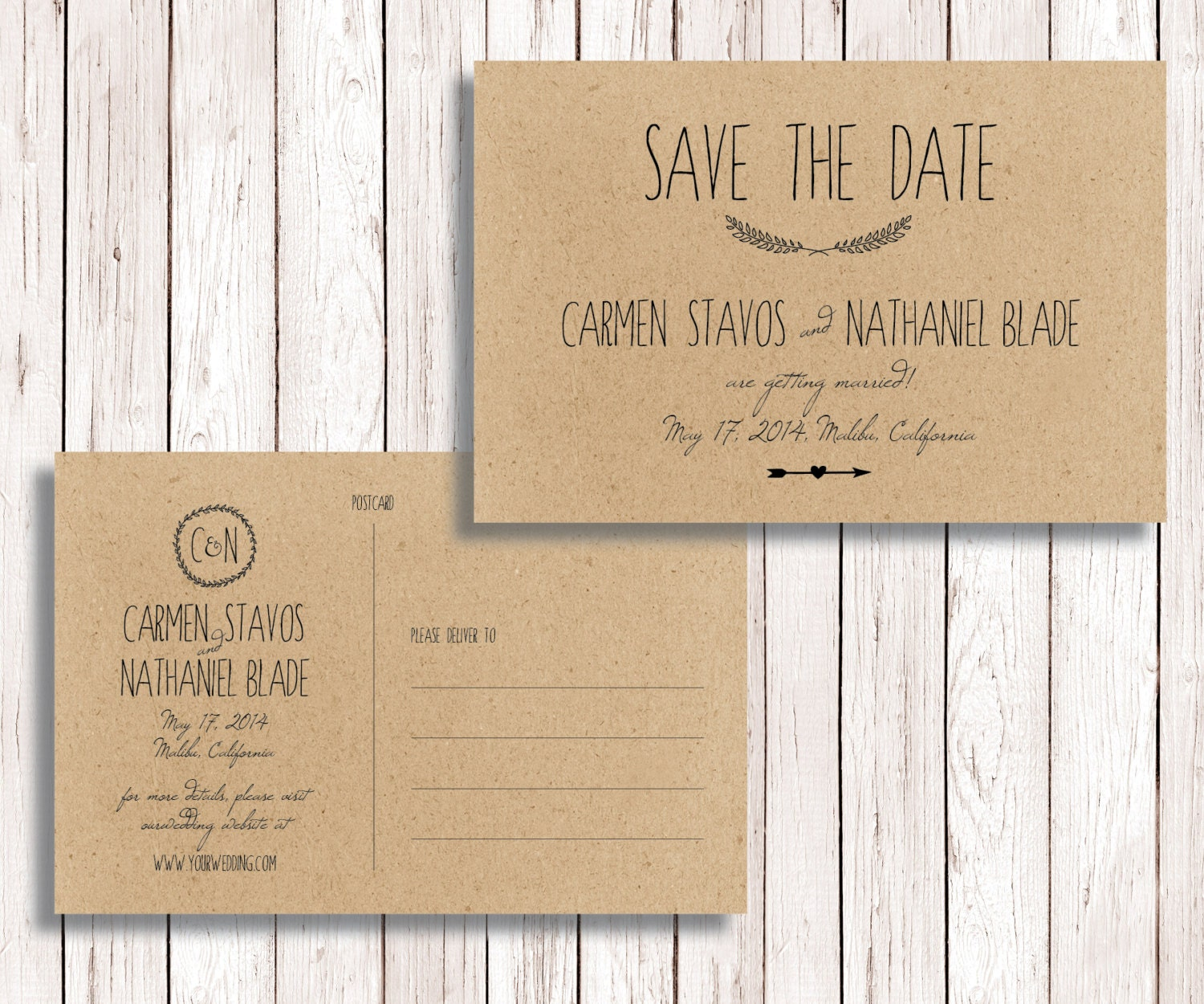 Rustic Printable Save the Date Postcard, Diy Save the Date ...