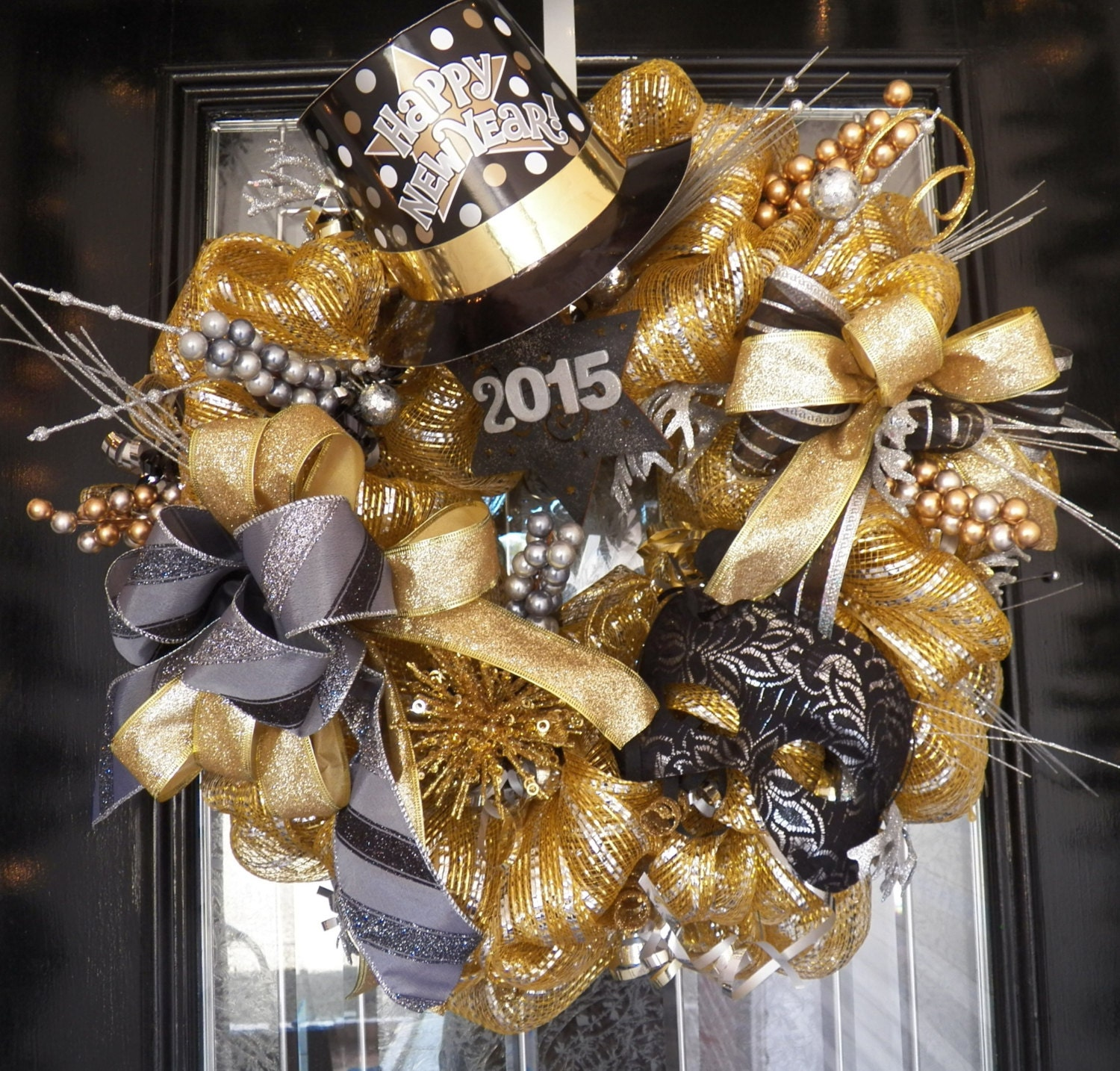 2015 New Years Wreath, New Years Party Decoration, Christmas Gift, Fast Shipping