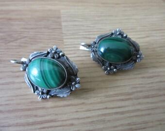 Vintage Sterling Silver Malachite Oval Flower Design Earrings