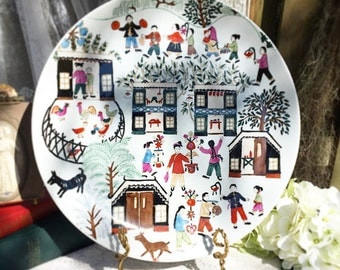 Chinese Folk Art Plate, Srednick Collection, Macau, Naive Primitive, village country, Asian, Oriental, Decor, Dish Wall Hanging hand painted