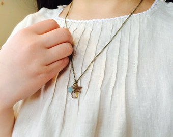 Kids necklace Sky blue crystal beads-Czech beads-Star charm-Antique bronze chain N010