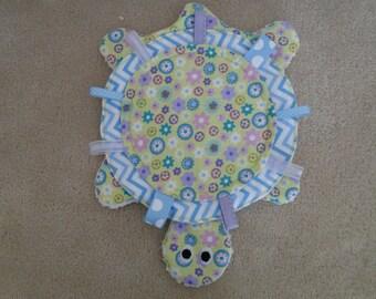 Handmade One of A Kind Tessy Turtle Baby Tag, Ribbon, Sensory  Lovie Blanket