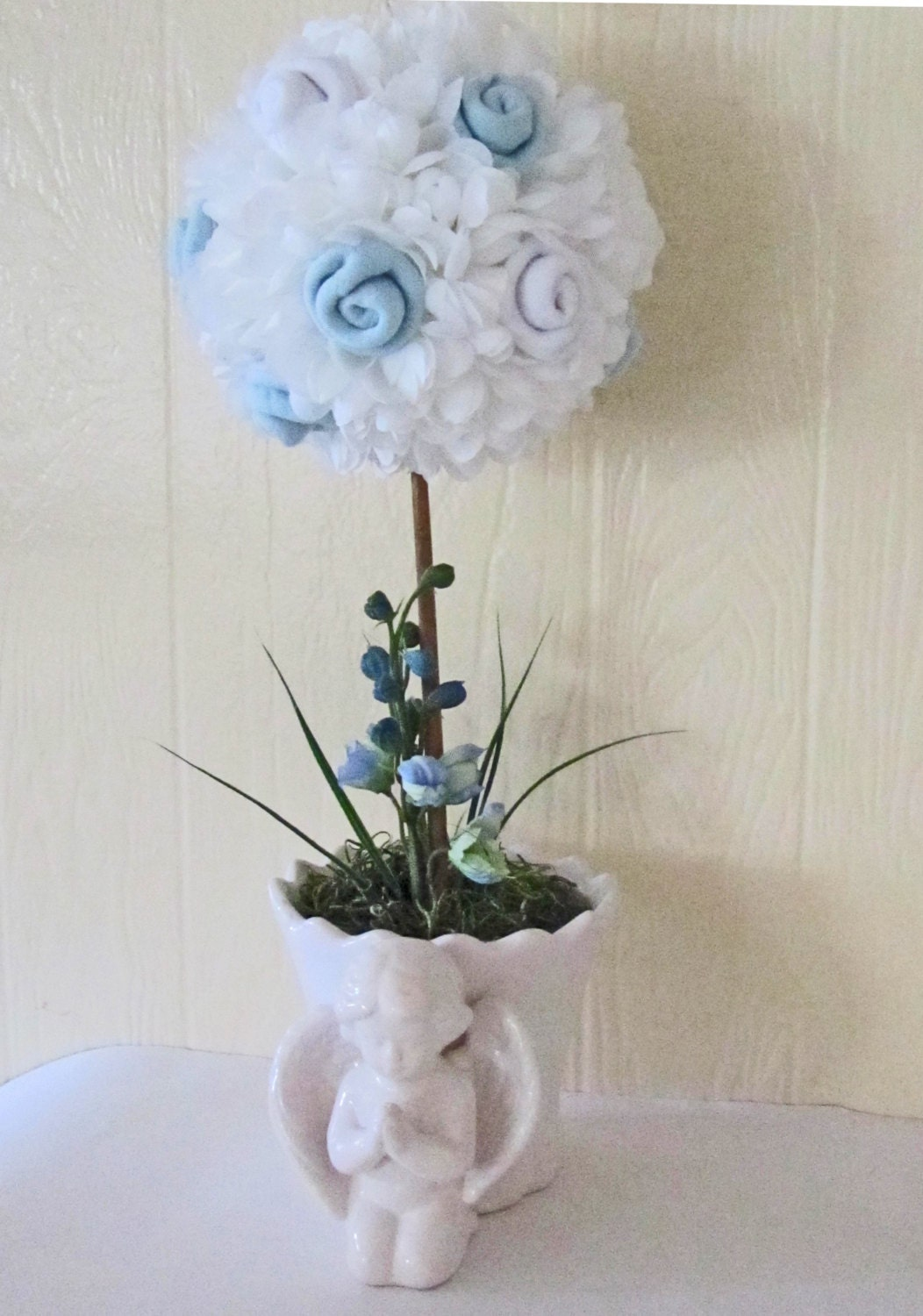 Baptism baby boy topiary baby blessing topiary - Baptism decorations ideas for boy ...