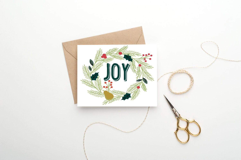 SALE Holiday Card - Joy - Wreath Card - Christmas Card - Set of Christmas Cards - Set of Holiday Cards - Bulk Card Set - Vintage Floral