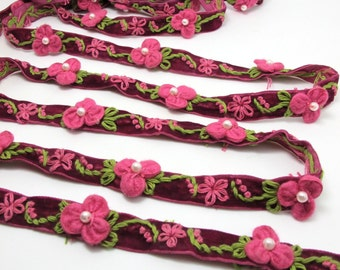 5/8 Inch Fuchsia Embroidered Velvet Ribbon with Felt Flower|Sewing|Quilting|Jewelry Design|Embellishment|Decorative|Acrylic Felt Flower