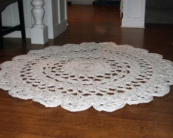 Large Round Crochet Rug, Off-White Doily Rug, Shabby Chic Area Rug, Nursery Throw Rug