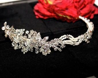 wedding headband, wedding headpiece, bridal crystal headband, pearl wedding headband, ribbon wedding headband