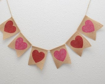 Hearts Valentines Day Burlap Banner - Heart Banner - Valentines Photo Prop Home Decoration