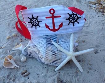 Seashell Bag , Anchors and Helms Shell collecting bag, Girl, Boy, Kids, Mesh Bag, Beach Bag, SeaShell mesh bag, Small, Medium or Large