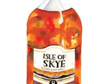 Watercolour Print of Isle of Skye Whisky Painting